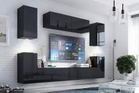 Obývací stěna moderní Combo 5 grafit/MDF Černý lesk