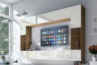 Obývací stěna moderní Combo 6 Dub wotan/MDF Bílý lesk