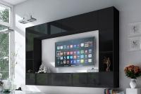 Obývací stěna moderní Combo 6 grafit/MDF Černý lesk