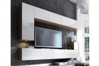 Obývací stěna moderní Combo 7 Dub wotan/MDF Bílý lesk