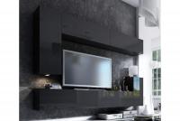 Obývací stěna moderní Combo 7 grafit/MDF Černý lesk