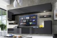 Obývací stěna moderní Combo 8 grafit/MDF Černý lesk