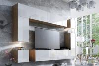 Obývací stěna moderní Combo 9 Dub wotan/MDF Bílý lesk
