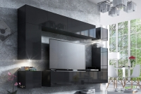 Obývací stěna moderní Combo 9 grafit/MDF Černý lesk