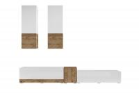 Obývacia stena Power I Biely - sandal oak/Biely lesk - sandal oak 24BSJE10 Obývacia stena do obývačky