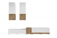 Obývacia stena Power I Biely - sandal oak/Biely lesk - sandal oak 24BSJE10 Moderný nábytok