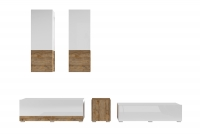 Obývacia stena Power I Biely - sandal oak/Biely lesk - sandal oak 24BSJE10 Obývacia stena v bielom lesku