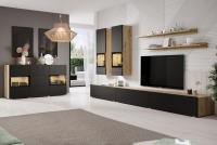 Obývacia stena s komodou Baros Dub artisan/Čierny mat - skladom!