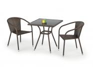 MOBIL stôl záhradný, Farba: Sklo - Čierny, ratan - c.Hnedá
