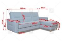 Rohová sedacia súprava Napa  - Výpredaj szczegolowe Rozmery naroznika nappa