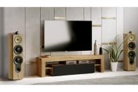 moderná TV skrinka Vera 138 cm - Dub artisan/Čierny mat TV skrinka Vera do izby dziennego