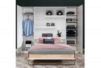 Sklápacia posteľ 90x200 New Elegance - Biely lesk polkotapczan z policami