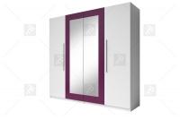 Skříň čtyřdveřová do ložnice Vera 20 Bílý/Lila