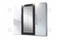Skříň čtyřdveřová do ložnice Vera 20 Bílý/Ořech Černý