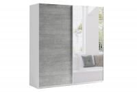 Skriňa s posuvnými dverami 200 Moore Biely/Beton Colorado - Zrkadlo