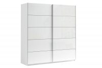 Skriňa s posuvnými dverami 200 Moore Biely mat/Biely lesk/čierna dach