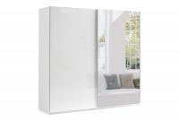Skriňa s posuvnými dverami 220 Moore Biely/Biely lesk - Zrkadlo