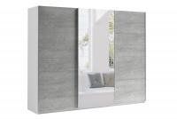 Skriňa s posuvnými dverami 270 Moore Biely/Beton Colorado - Zrkadlo