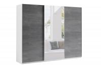 Skriňa s posuvnými dverami 270 Moore Biely/Oxid - grafit dach - Zrkadlo