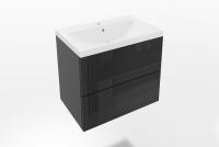 Skrinka lazienkowa závesná S umývadlom Combo 13 - grafit/MDF Čierny lesk