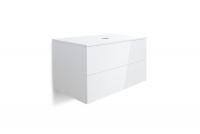 Skrinka lazienkowa z dwiema szufladami w zestawie S umývadlom Combo - Biely/MDF Biely lesk  Skrinka S umývadlom Combo w polysku