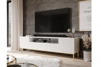 TV skrinka Nicole 200 cm - Biely mat / zlaté nožičky