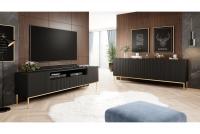 TV skrinka Nicole 200 cm z wneka - Čierny mat / zlaté nožičky