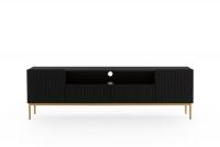 TV skrinka Nicole 200 cm z wneka - Čierny mat / zlaté nožičky TV skrinka