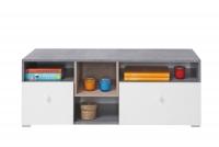 Skříňka tv Sigma SI9 - Bílý Lux + Beton + Dub
