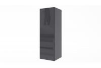 Skrinka závesná vertikálna Combo 3 - grafit / MDF čierny lesk