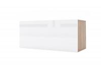 Závesná skrinka horizontálna sklopná Combo 2 - Dub wotan/MDF Biely lesk