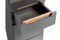 Skrinka wysoka do lazienki Bali Grey 800 - Grafitový lesk / Dub wotan szuflady w szafkach do lazienki