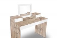 Toaletný stolík z zrkadlom Combo 14 i 10 - Dub wotan/MDF Biely lesk  Toaletný stolík Combo Biela