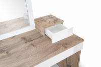 Toaletný stolík z zrkadlom Combo 14 i 10 - Dub wotan/MDF Biely lesk  Toaletný stolík Combo do garderoby