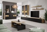 Komplet nábytku s konferenčním stolkem Baros Dub artisan/Černý mat