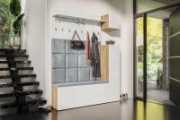 Komplet moderného nábytku do predsienie Combo II - Dub wotan/MDF Biely lesk